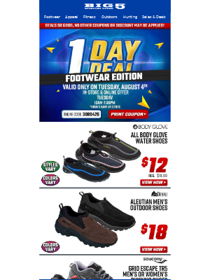 One Day Deals - Footwear Edition