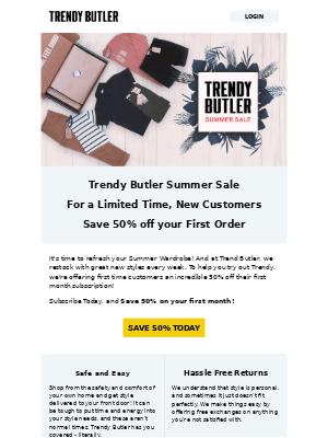 Trendy Butler - Summer Sale at Trendy Butler - Save 50%