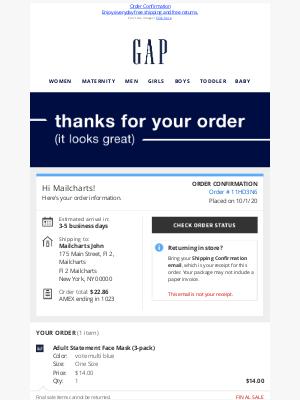 Gap - Order Confirmation 11HD3N6