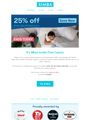 Simba Sleep (UK) - 25% off Simba Hybrid® Mattresses ends today