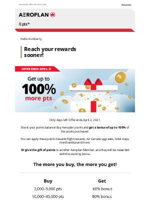 Air Canada - Last chance to get a bonus of up to 100% when you buy points!