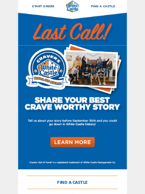 White Castle - Calling All Cravers! Submit Your Hall of Fame Story Now.