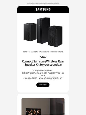 Samsung -  Wireless rear speaker kit enhances your surround sound experience