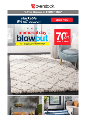 Overstock - 📬 You've Got Mail! Redeem Your 9% off Stackable Coupon! Check Out the Memorial Day Blowout!