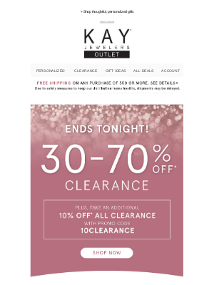 Kay Jewelers - Last call to save 30-70% on clearance!