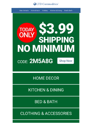 LTD Commodities - Today Only! $3.99 Shipping No Minimum!