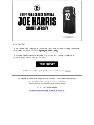 Brooklyn Nets - Enter to Win a Joe Harris Jersey