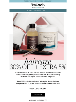 SkinCareRx - Haircare Bestsellers    Save 30% + Extra 5% Off