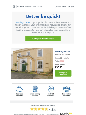 Sykes Cottages UK - Hi, Barnsley House is getting a lot of interest...