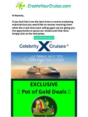 Norwegian Cruise Line - Rosetta - Celebrity Insider - Caribbean winter 2021 Exclusive Pot of Gold Deals