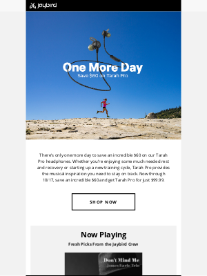Jaybird - One More Day—Save $60 on Tarah Pro