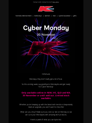 Kmart Australia Limited - Cyber Monday is coming!