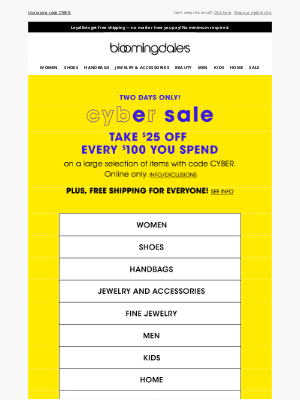 Bloomingdale's - Take $25 off every $100 + FREE shipping!