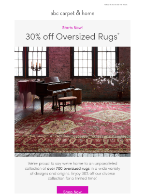ABC Carpet & Home - starts now: 30% off oversized rugs