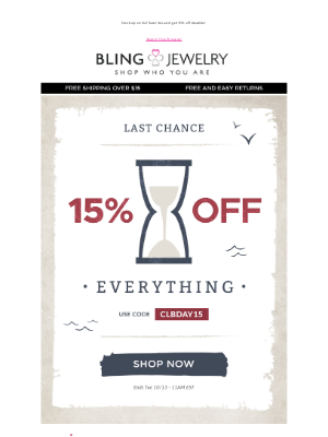 Bling Jewelry - Save 15% off SITEWIDE! Hurry! Shop Amazing Deals!