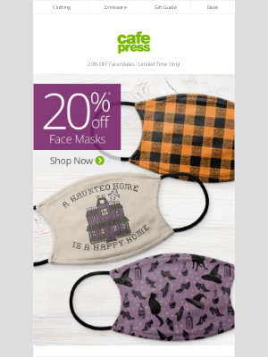 CafePress - Face Masks are 20% Off! Shop Halloween │ Patterns │ Personalized │ & More!