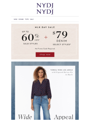 NYDJ - MLK Day SALE! Up to 60% Off + $79 Jeans