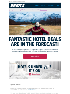 Orbitz - ❄️ Forecast: Local escapes possible, with a chance of savings