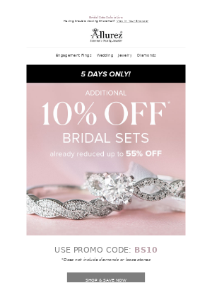 Extra 10% OFF* on Bridal Sets!
