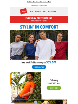 Hanes - Beau-tee-ful tees for all, up to 50% off.