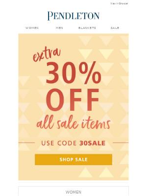 Pendleton Woolen Mills - Promo code: 30SALE