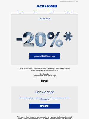 Jack & Jones (UK) - Last chance to use your -20% voucher, Carrie