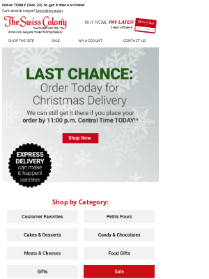 The Swiss Colony - Last Day for Christmas Delivery