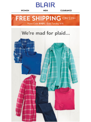 BLAIR - Mad for Plaid 😍 + Up to 40% off Men's Shirts!