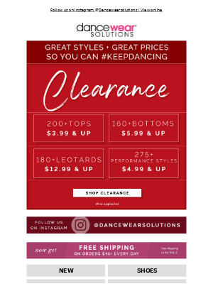 Dancewear Solutions - Amazing Clearance Deals Inside