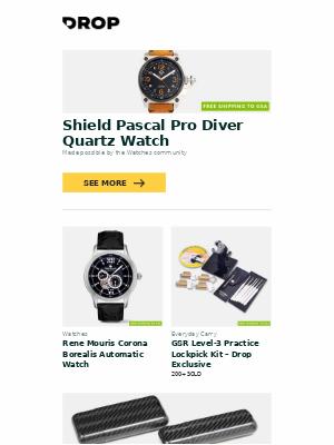 Massdrop - Shield Pascal Pro Diver Quartz Watch, Rene Mouris Corona Borealis Automatic Watch, GSR Level-3 Practice Lockpick Kit – Drop Exclusive and more...