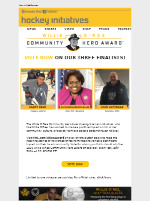 NHL - Vote for the 2020 Willie O'Ree Community Hero Award!