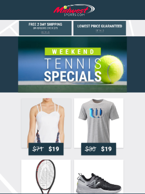 Midwest Sports - Weekend Specials + Head Deals & Apparel Up to 82% Off!
