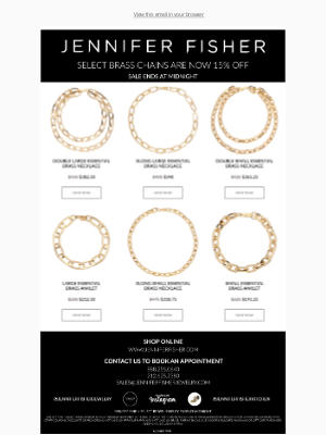 Jennifer Fisher Jewelry - SELECT BRASS CHAINS NOW ON SALE