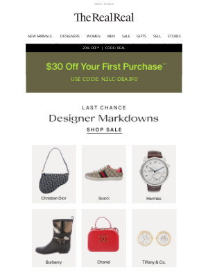 The RealReal - Last Chance Sale & Last Chance To Use Your $30