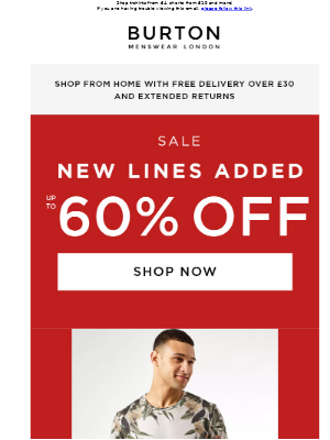 Up to 60% off SALE: new lines added