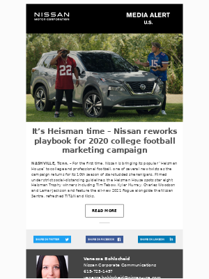 Nissan - It's Heisman time – Nissan reworks playbook for 2020 college football marketing campaign