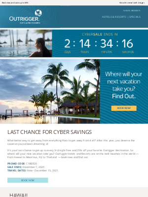 Outrigger Hotels - Don't miss out - CYBER SALE ends soon!