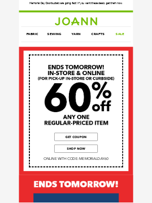 Your 60% off COUPON is here! Use it on curbside pick-up orders, too!