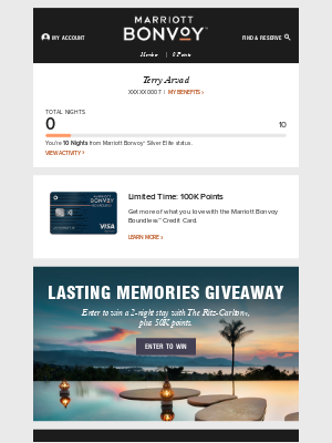 Your Marriott Bonvoy Account Update: Special Offers, Benefits & More