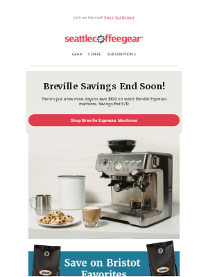 Seattle Coffee Gear - Don't Miss $100 Savings on Select Breville Machines!