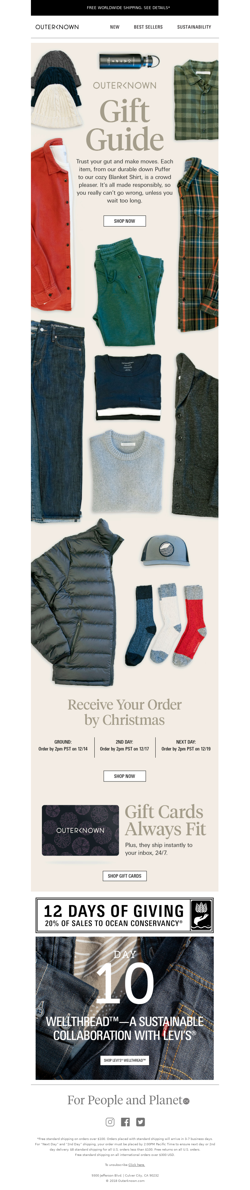 Gift guide email newsletter from Outerknown