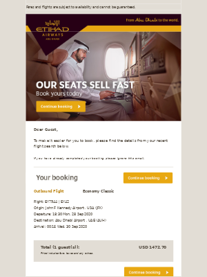 Etihad Airways - A message from us