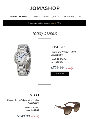 Jomashop - 🌎 DAILY DEAL: Longines Ladies Watch 34% off | Gucci Sunglasses $150 |  Movado Juro $265 | Michael Kors Bag $100