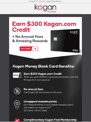 Kogan (AU) - Earn $300 Kogan.com Credit and Amazing Rewards! Kogan Money Credit Card!