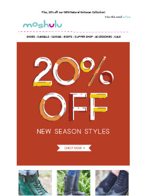 20% off ALL New Autumn Styles