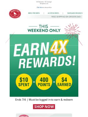 Perky Pet Feeders - Earn BIG this weekend: 4X REWARDS!