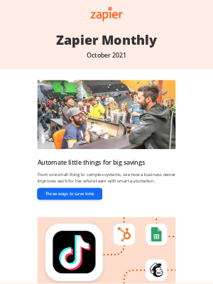 Zapier - New in October: Automation ideas for you and your business, 12 updates, and 20 new apps