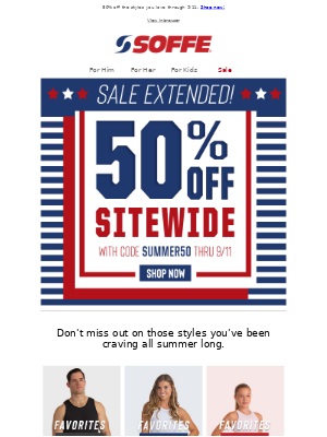 Soffe LLC. - Last Chance! 50% Off Sitewide Ends Today