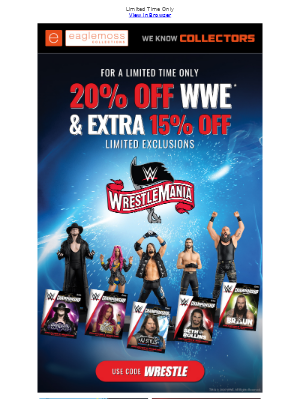 Celebrate Wrestlemania 36 🎉 With 20% OFF