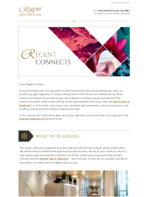 Regent Seven Seas Cruises - Regent Connects – A Moment of Luxurious Self-Care